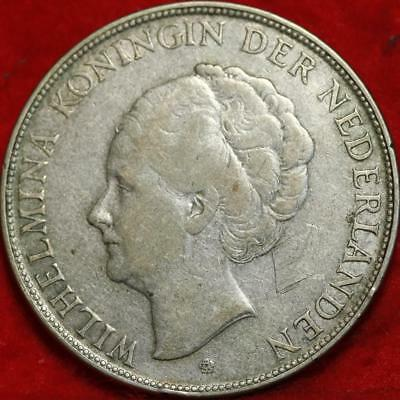 1932 Netherlands 2 1/2 Gulden Silver Foreign Coin Free S/H
