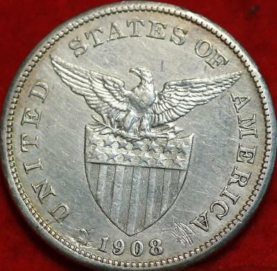1908 Philippines One Peso Silver Foreign Coin Free S/H