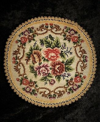 Vtg Petit Point Floral Miniature Dollhouse Rug Finished Completed Needlepoint