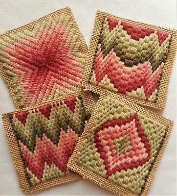 Vtg Geometric Bargello Flame Stitch Finished Completed Coasters Needlepoint Lot