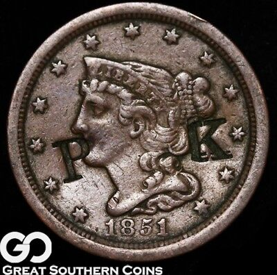 "1851 Half Cent, Braided Hair, Counterstruck, ""P K"""