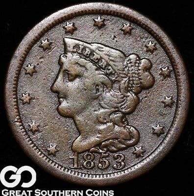 1853 Half Cent, Braided Hair