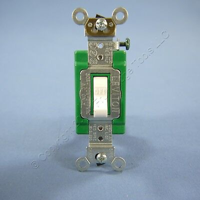 New Leviton White INDUSTRIAL DOUBLE POLE Toggle Light Switch 30A 3032-2WS Boxed