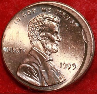 Uncirculated Red 1999 Philadelphia Mint Lincoln Cent Off Center Error Free S/H