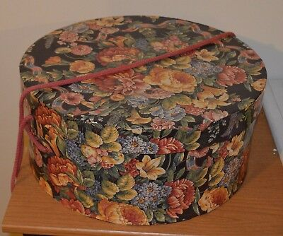 Vintage Look Papered Covered HAT BOX Flowered