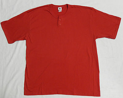 NEW Men's Badger Baseball Shirt 2 Button T-shirt Henley Red XL Jersey Last One!