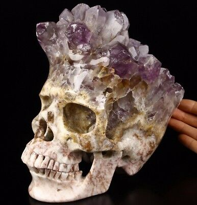 """AWESOME Lifesized 8.2"""" AMETHYST DRUSE Carved Crystal Skull, Super Realistic"""