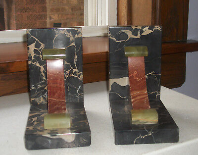 Art Deco French Bookends – Marble and Onyx  1930s