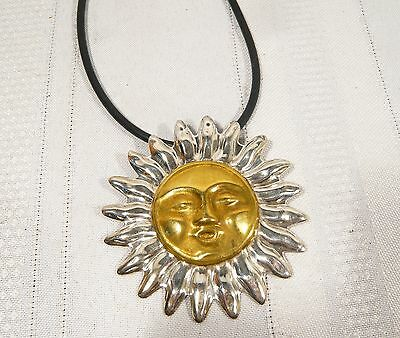 Vintage Mexican Sterling Silver SUN BROOCH or PENDANT with NECKLACE 21.1 g. 925