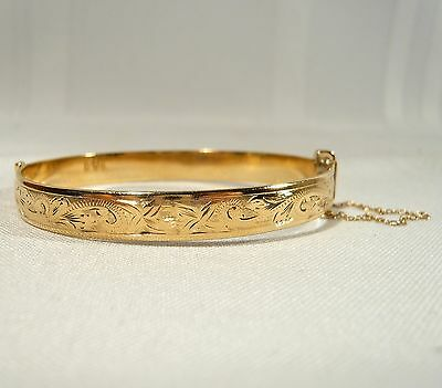Antique Quality  Rolled GOLD BRACELET 1/5 9ct Gold 18.5 g ENGRAVED Safety Chain