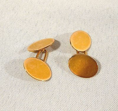 HEAVY Antique 1881 15K GOLD Button Cufflinks CHESTER 17mm  J.T  9.0 grams.