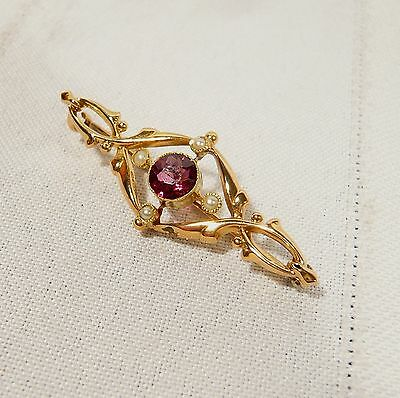 Antique 15K GOLD BROOCH 2.4 grams PEARL &  Ruby Color Stone 1911 CHESTER 1 3/4""