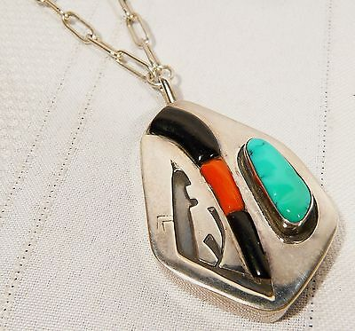"""NAVAJO Signed LL Silver PENDANT 17"""" NECKLACE  Turquoise Onyx Coral 37.9 gr"""