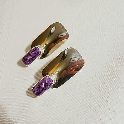 NAVAJO SILVER STERLING & Charoite Earrings Signed M.SLIM  L.O. Marvin Slim