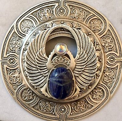"BRASS EXTRA SUPER LARGE 3""INCH Vintage & Antique""GENUINE SODALITE SCARAB"" Button"