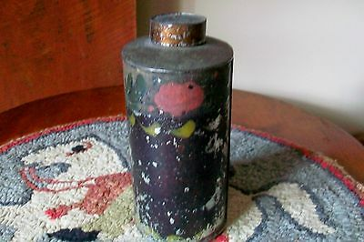 Antique Primitive Painted Tin Tole Toleware Oval Tea Cannister Caddy