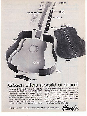 """Vintage Gibson Guitar """"A World Of Sound"""" Classic Print Advertisement"""