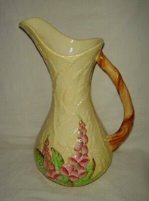 Stunning Vintage Carlton Ware Pink Foxgloves H/painted Yellow Tall Jug / Pitcher