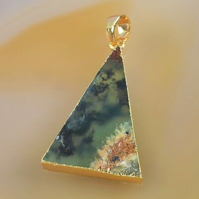 Triangle Australia Natural Chrysoprase Pendant Bead Gold Plated T039534