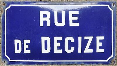Old blue French enamel steel street sign plate road name plaque Decize Burgundy