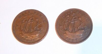 Queen Elizabeth II - two halfpenny coins - 1957 - calm sea & rough sea versions