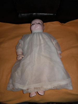 """Very Old Doll with China Head, Arms and Legs,Brown Painted Hair & Eyes  18"""" TALL"""