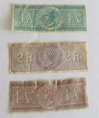 India QV 1898 small collection Special Adhesive Revenues used