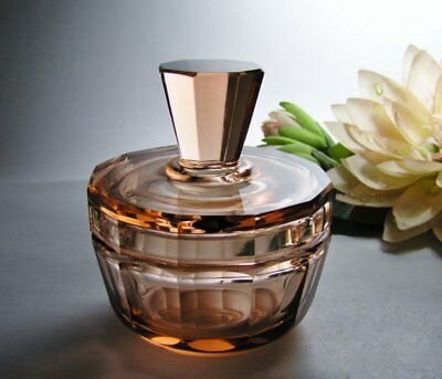 Vintage DEPRESSION Salmon PINK Lidded Glass TRINKET Vanity DISH Covered BOX