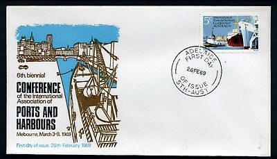 Australia 1969 Ports & Harbours - Unaddressed FDC (silver lettering)