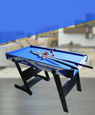 A11 Blue Kids Toy Home Foldable Billiard Ball Snooker Pool Table Game 76CM