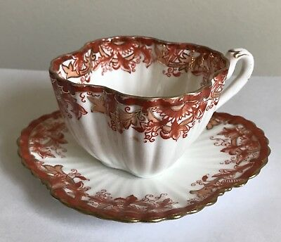Foley Wileman Shelley Alexandra Cup And Saucer Pattern 4346 Orange & Gold