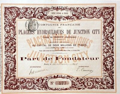 Placers Hydrauliques de Junction City Trinty Company - 1894