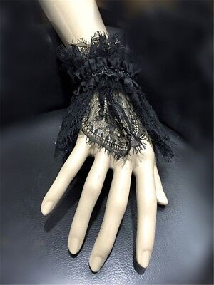 1pc Vintage Gothic Women Black Lace Hand Cuff Lolita Girl Lace-Up Wristband X1