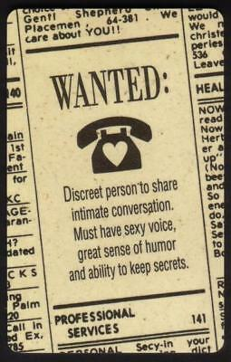 TK 370a Telephonkarte/Phone Card 'Personals Ad WANTED Discreet Person To Share..