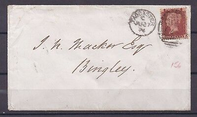 Lot:23503  GB QV Cover  1874 SG44 1d red plate 156 Bingley