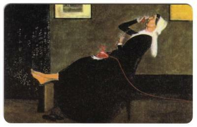 TK 369a Telephonkarte/Phone Card 'Whistler's Ma': Mother On Phone With Feet Up