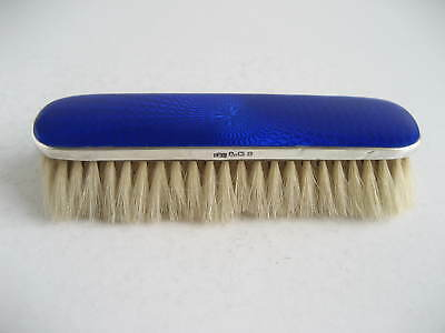 Art Deco Silver Backed Electric Blue Guilloche Clothes Brush Birmingham 1929