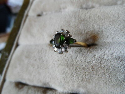 Hallmarked 18K gold and Emeralds and Diamond ring size L 16.5mm