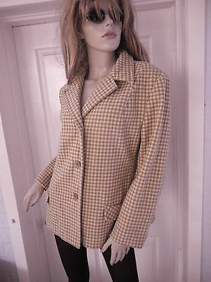 SOo COOL! Original Vintage 1960-70's ChecK Design WOOL Blazer/JACKET~about M