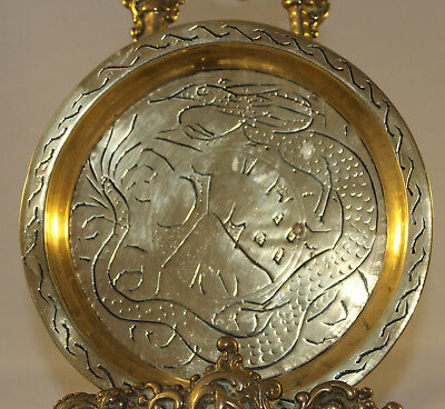 """Vintage Chinese Brass Pin Change Dish Engraved Dragon Signed To Rear 5.25"""""""