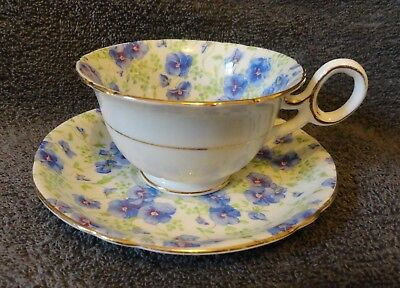 Shelley, Cup and Saucer, Blue Pansy chintz.