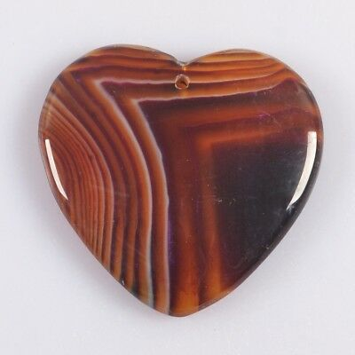 Heart Brown Onyx Agate Pendant Bead T046900