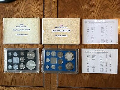 1975 & 1976 India Proof Coin Set, With Original Boxes & Certificates!!