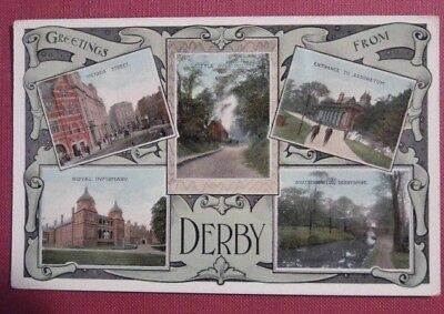 DERBY MULTIVIEW REAL PHOTO POSTCARD. ETWAY postmark, 1915.