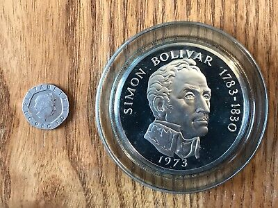1973 Republic of Panama Sterling Silver Proof 20 Balboas Coin. With Certificate!