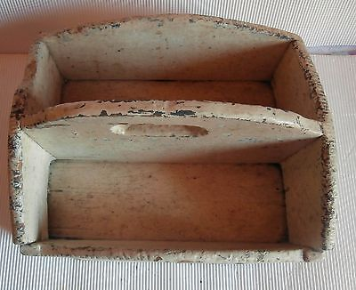 Antique  PINE WOOD  CUTLERY knife box TRAY PAINT  Primitive Folk Art