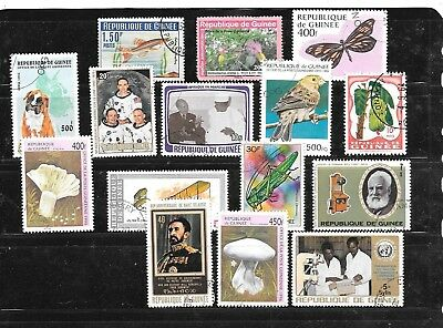 Guinea 15 Different Used Large Pictorial Stamps Stamp Collection Lot Set Packet