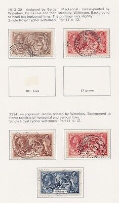Lot:23516  GB GV  1913-30 Waterlow seahorse 2s6d-5s  1934 re-engraved issue to 1