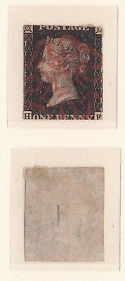 Lot:23460  GB QV  1840 1d Black SG2 'HF' red Maltese cross cancelled