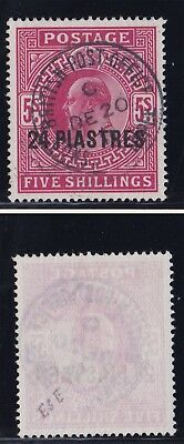 Lot:23428  GB EDVII  SG263 5s red British Post Office overprinted 24 Piastres